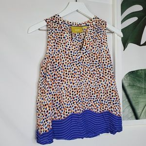 Anthro Maeve Dots Mixed Print Sleeveless Flowy Top
